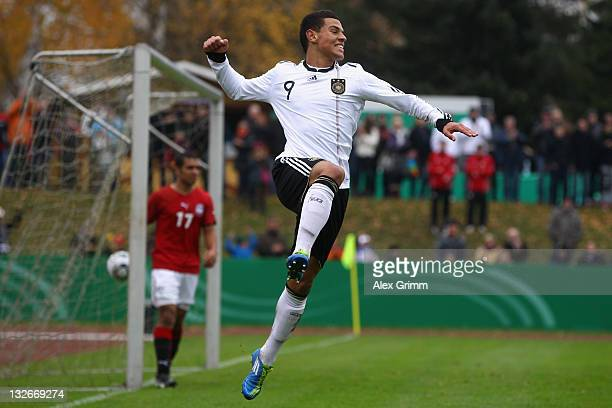 Shawn Parker of Germany celebrates his team's first goal during the U19 International friendly match between Germany and Egypt at Parkstadion on...