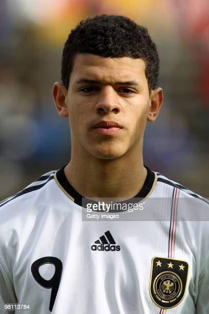 Shawn Parker of Germany pose during the U17 Euro Qualifier match between Switzerland and Germany at the Bruegglifield Stadium on March 27 2010 in...
