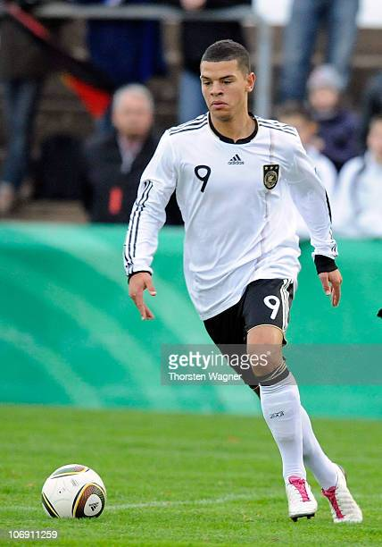 Shawn Parker of Germany runs with the ball during the international friendly match between Germany and Turkey at stadium Am Hessenhaus on November 16...