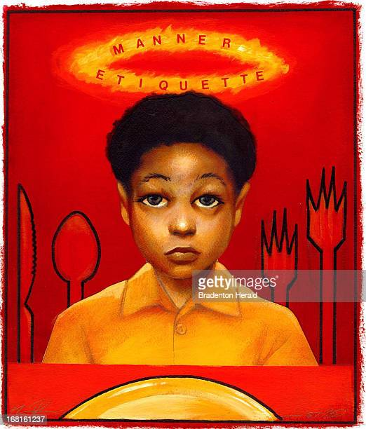 Shawn Peters color illustration of young boy surrounded by knife spoon forks and with a halo over his head that says 'Manner etiquette'