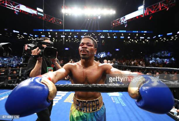 Shawn Porter celebrates his ninth round tko against Andre Berto during their WBC welterweight eliminator bout at the Barclays Center on April 22 2017...