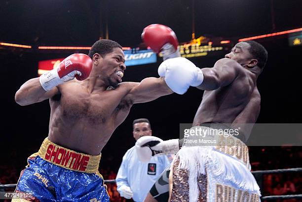 Shawn Porter punches at Adrien Broner during their welterweight bout at MGM Grand Garden Arena on June 20 2015 in Las Vegas Nevada Porter won the...