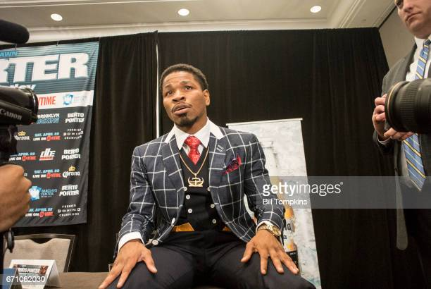 Shawn Porter speaks at the Porter vs Berto Welterweight fight final press conference at the Marriot Hotel April 20 2017 in Brooklyn in New York City