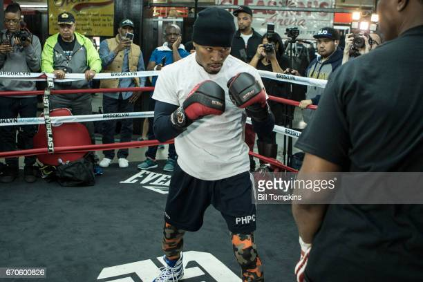 Shawn Porter works out during a media workout session April 19 2017 in Brooklyn in New York City The session is to promote the upcoming Welterweight...