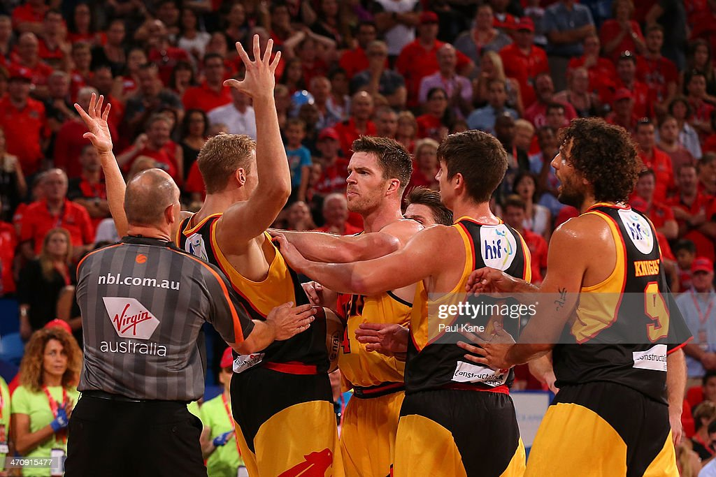 Shawn Redhage of the Wildcats and Lucas Walker of the Tigers exchange words during the round 19 NBL match between the Perth Wildcats and the Melbourne Tigers at Perth Arena on February 21, 2014 in Perth, Australia.