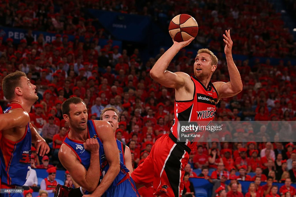 Shawn Redhage of the Wildcats takes a fade away jump shot during game one of the NBL Grand Final series between the Perth Wildcats and the Adelaide 36ers at Perth Arena on April 7, 2014 in Perth, Australia.