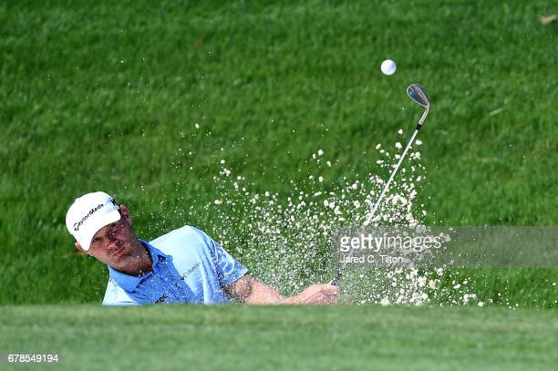 Shawn Stefani plays a shot from a bunker on the sixth hole during round one of the Wells Fargo Championship at Eagle Point Golf Club on May 4 2017 in...