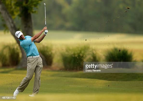 Shawn Stefani plays a shot on the 1st during the Final Round of the Zurich Classic of New Orleans at TPC Louisiana on April 27 2014 in Avondale...