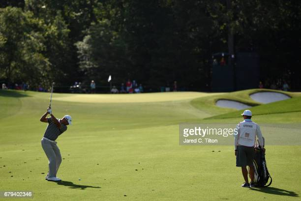 Shawn Stefani plays an approach shot on the 11th hole during round two of the Wells Fargo Championship at Eagle Point Golf Club on May 5 2017 in...