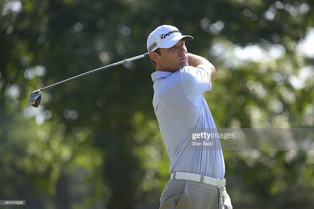 Shawn Stefani tracks his ball flight on the 12th hole during the final round of the Quicken Loans National at Congressional Country Club on June 29, 2014 in Bethesda, Maryland.