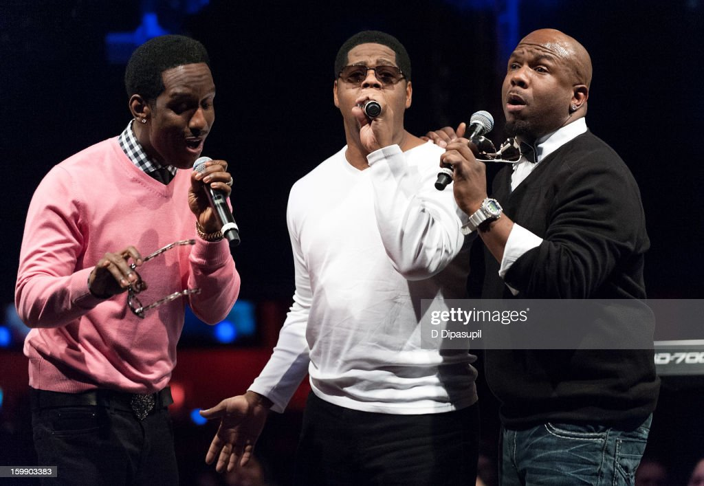 Shawn Stockman, Nathan Morris, and Wanya Morris of Boyz II Men perform during the Package Tour Special Announcementat Irving Plaza on January 22, 2013 in New York City.