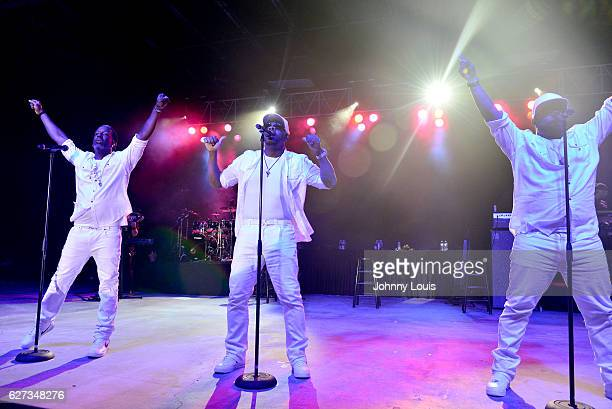 Shawn Stockman Nathan Morris and Wanya Morris of Boyz II Men perform onstage at Pompano Beach Amphitheatre on December 2 2016 in Pompano Beach Florida