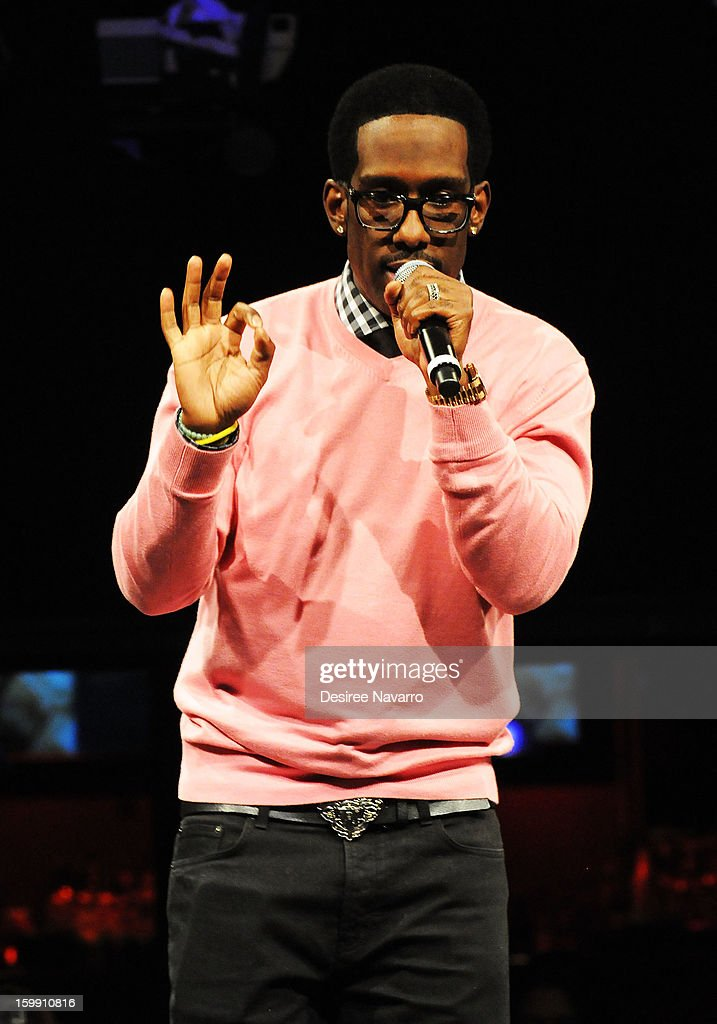 Shawn Stockman of Boyz II Men performs at the New Kids On The Block Special Announcement at Irving Plaza on January 22, 2013 in New York City.