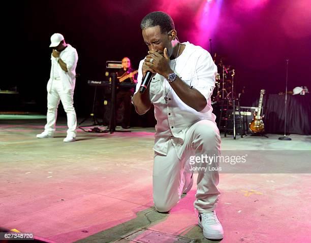 Shawn Stockman of Boyz II Men performs onstage at Pompano Beach Amphitheatre on December 2 2016 in Pompano Beach Florida