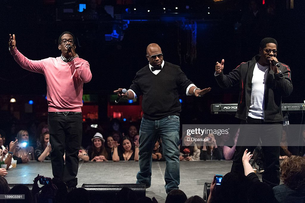 Shawn Stockman, Wanya Morris, and Nathan Morris of Boyz II Men perform during the Package Tour Special Announcementat Irving Plaza on January 22, 2013 in New York City.