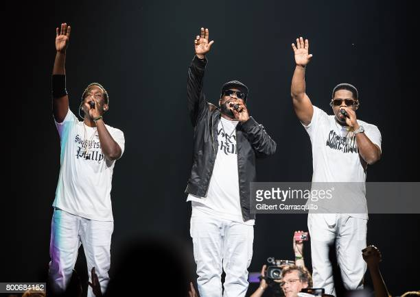 Shawn Stockman Wanya Morris and Nathan Morris of Boyz II Men perform during 'The Total Package Tour' at Wells Fargo Center on June 24 2017 in...