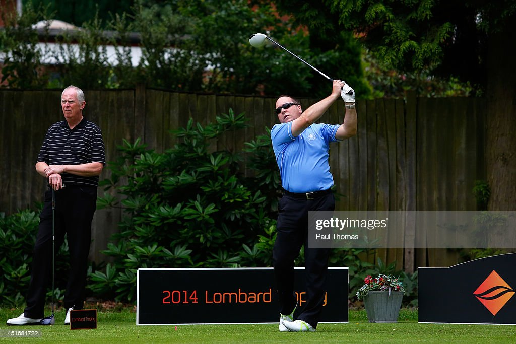 Shawn Thomas of Worcester Golf and Country Club tees off during The Lombard Trophy Midland Regional Qualifier at Little Aston Golf Club on July 4, 2014 in Sutton Coldfield, England.