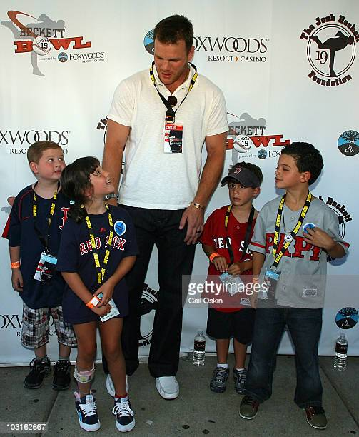 Shawn Thornton and L to R Patrick Maggie Nicholas and Charlie attend the Beckett Bowl at Children's Hospital Boston on July 29 2010 in Boston...