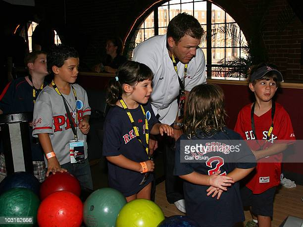 Shawn Thornton and Patrick Charlie Maggie and Nicholas attend the Beckett Bowl at Children's Hospital Boston on July 29 2010 in Boston Massachusetts