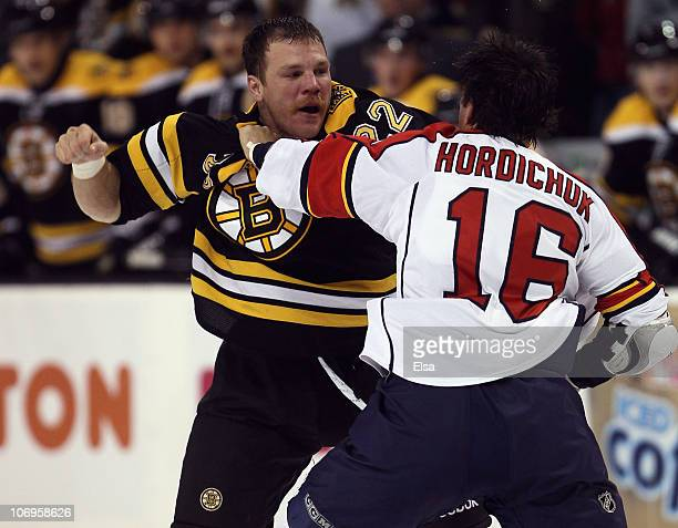 Shawn Thornton of the Boston Bruins and Darcy Hordichuk of the Florida Panther exchange punches on November 18 2010 at the TD Garden in Boston...
