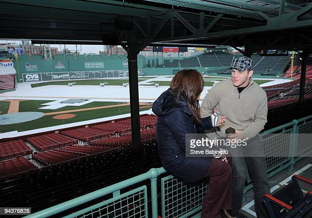 Shawn Thornton of the Boston Bruins being interviewed at Fenway Park during the build out of the ice rink for the 2010 Winter Classic on December 13...