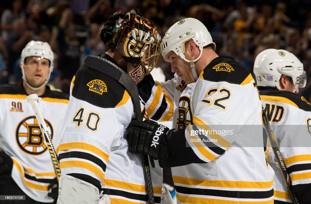 <a gi-track='captionPersonalityLinkClicked' href=/galleries/search?phrase=Shawn+Thornton&family=editorial&specificpeople=221639 ng-click='$event.stopPropagation()'>Shawn Thornton</a> #22 of the Boston Bruins congratulates teammate goalie <a gi-track='captionPersonalityLinkClicked' href=/galleries/search?phrase=Tuukka+Rask&family=editorial&specificpeople=716723 ng-click='$event.stopPropagation()'>Tuukka Rask</a> #40 on his shutout win against the Tampa Bay Lightning at the Tampa Bay Times Forum on October 19, 2013 in Tampa, Florida.