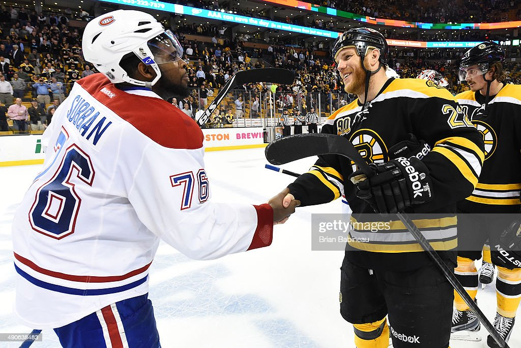 <a gi-track='captionPersonalityLinkClicked' href=/galleries/search?phrase=Shawn+Thornton&family=editorial&specificpeople=221639 ng-click='$event.stopPropagation()'>Shawn Thornton</a> #22 of the Boston Bruins shakes hands with <a gi-track='captionPersonalityLinkClicked' href=/galleries/search?phrase=P.K.+Subban&family=editorial&specificpeople=714418 ng-click='$event.stopPropagation()'>P.K. Subban</a> #76 of the Montreal Canadiens in Game Seven of the Second Round of the 2014 Stanley Cup Playoffs at TD Garden on May 14, 2014 in Boston, Massachusetts.