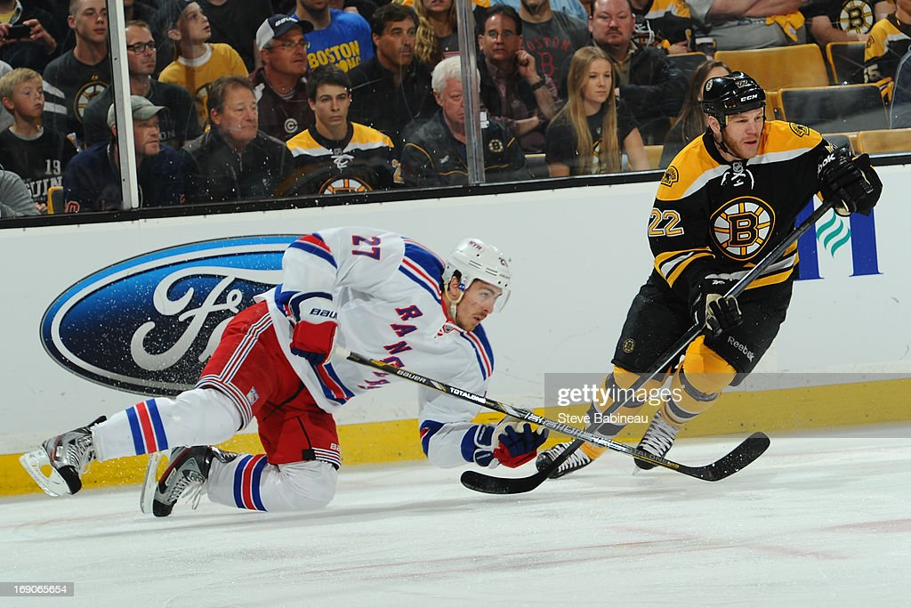 Shawn Thornton #22 of the Boston Bruins skates against Ryan McDonagh #27 of the New York Rangers in Game Two of the Eastern Conference Semifinals during the 2013 NHL Stanley Cup Playoffs at TD Garden on May 19, 2013 in Boston, Massachusetts.