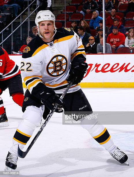 Shawn Thornton of the Boston Bruins skates against the New Jersey Devils during the game at the Prudential Center on October 16 2010 in Newark New...