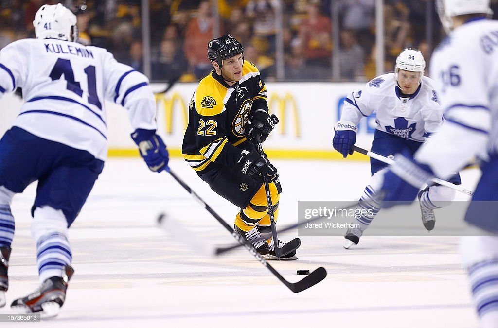 <a gi-track='captionPersonalityLinkClicked' href=/galleries/search?phrase=Shawn+Thornton&family=editorial&specificpeople=221639 ng-click='$event.stopPropagation()'>Shawn Thornton</a> #22 of the Boston Bruins skates with the puck against the Toronto Maple Leafs in Game One of the Eastern Conference Quarterfinals during the 2013 NHL Stanley Cup Playoffs on May 1, 2013 at TD Garden in Boston, Massachusetts.