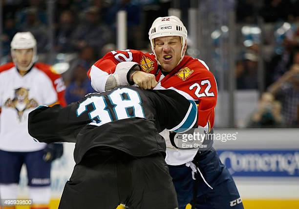 Shawn Thornton of the Florida Panthers fights with Micheal Haley of the San Jose Sharks at SAP Center on November 5 2015 in San Jose California