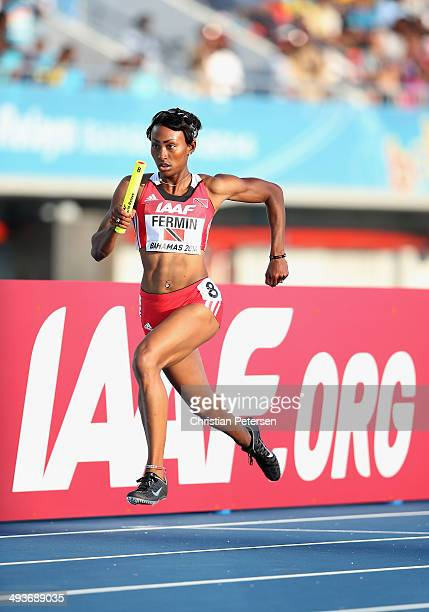 Shawna Fermin of Trinidad and Tobago competes in the Women's 4x400 metres relay during day one of the IAAF World Relays at the Thomas Robinson...