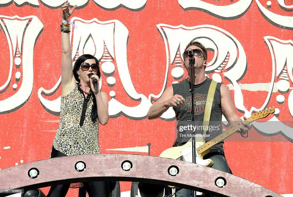 Shawna Thompson (L) and Keifer Thompson of Thompson Square perform as part of the Stagecoach Music Festival at the Empire Polo Grounds on April 28, 2013 in Indio, California.