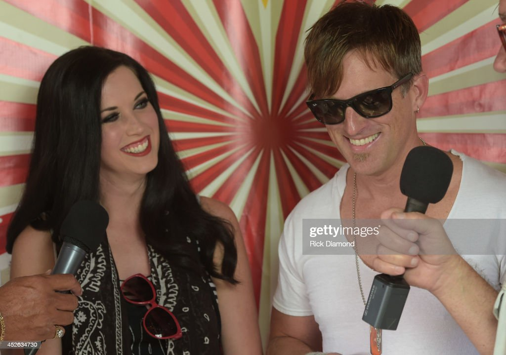 Shawna Thompson and Keifer Thompson of Thompson Square perform at Country Thunder USA Day 1 on July 24 2014 in Twin Lakes Wisconsin