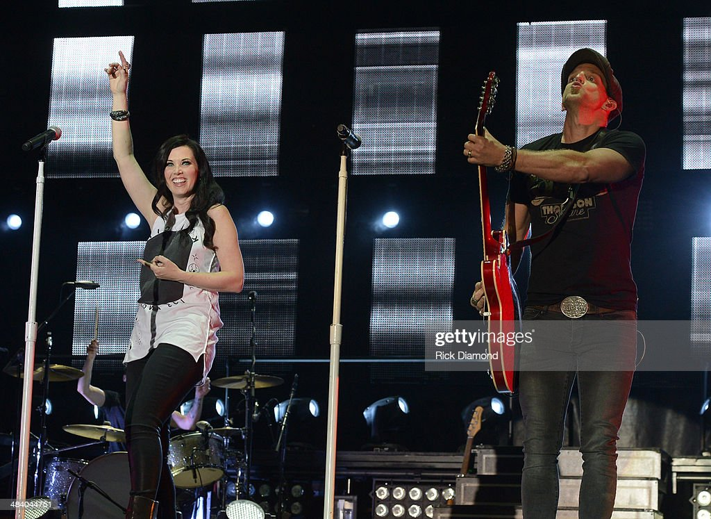 Shawna Thompson and Keifer Thompson of Thompson Square perform at Country Thunder USA In Florence Arizona Day 1 on April 10 2014 in Florence United...