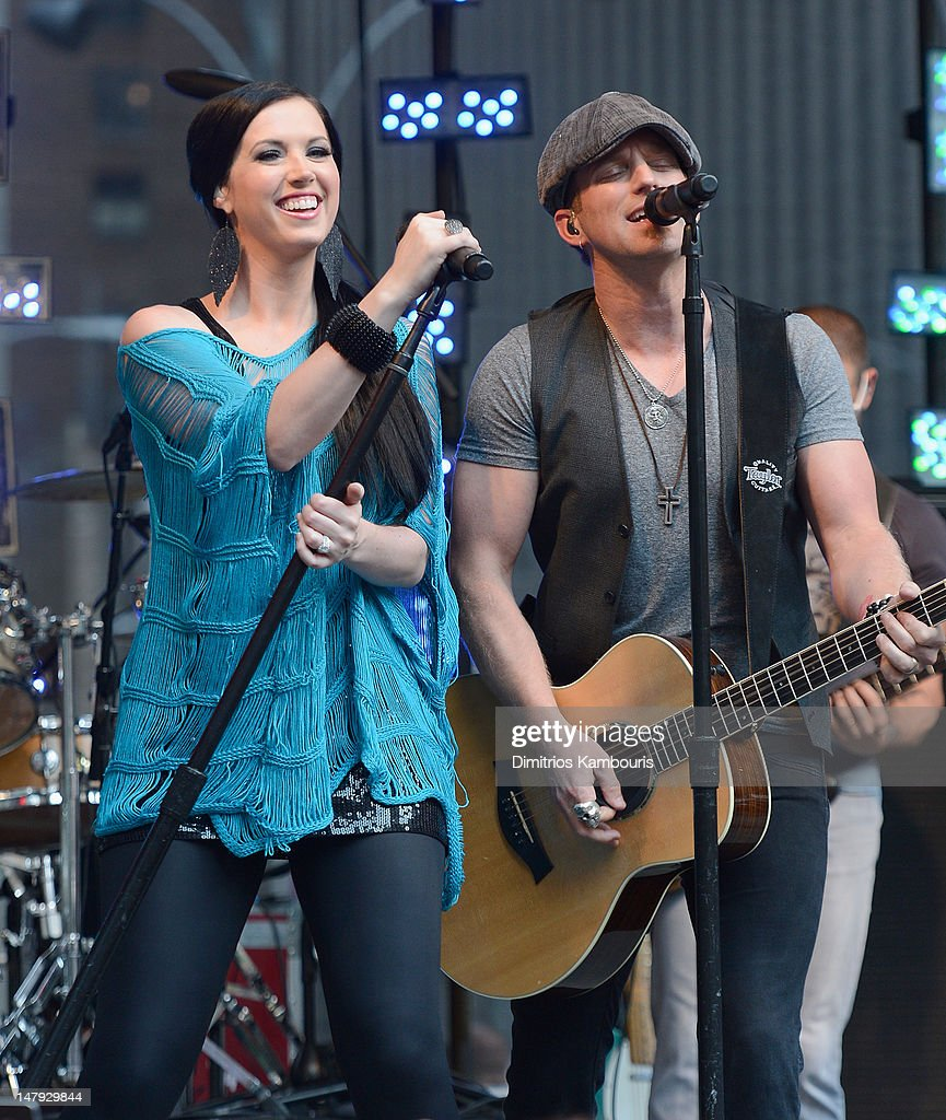 Shawna Thompson and Keifer Thompson of Thompson Square perform during 'FOX Friends' All American Concert Series at FOX Studios on July 6 2012 in New...