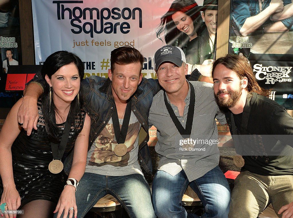 Shawna Thompson Keifer Thompson cowriter Jason Sellers and Paul Jenkins attend the Thompson Square Party For 'If I Didn't Have You' at The Row on...