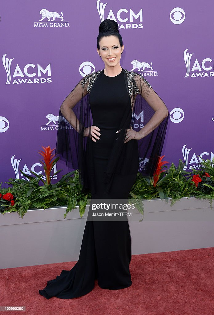 Shawna Thompson of music group Thompson Square arrives at the 48th Annual Academy of Country Music Awards at the MGM Grand Garden Arena on April 7, 2013 in Las Vegas, Nevada.