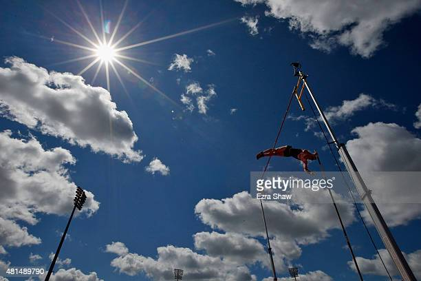 Shawnacy Barber of Canada competes in the men's pole vault during Day 11 of the Toronto 2015 Pan Am Games on July 21 2015 in Toronto Canada Barber...