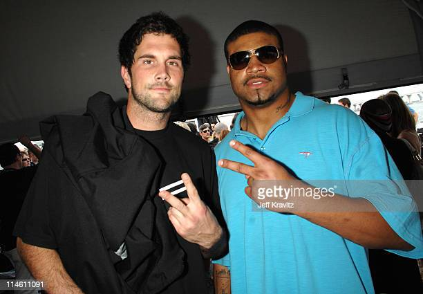 Shawne Merriman and Matt Leinart during The 5th Annual Cadillac Super Bowl Grand Prix at American Airlines Arena in Miami Beach Florida United States