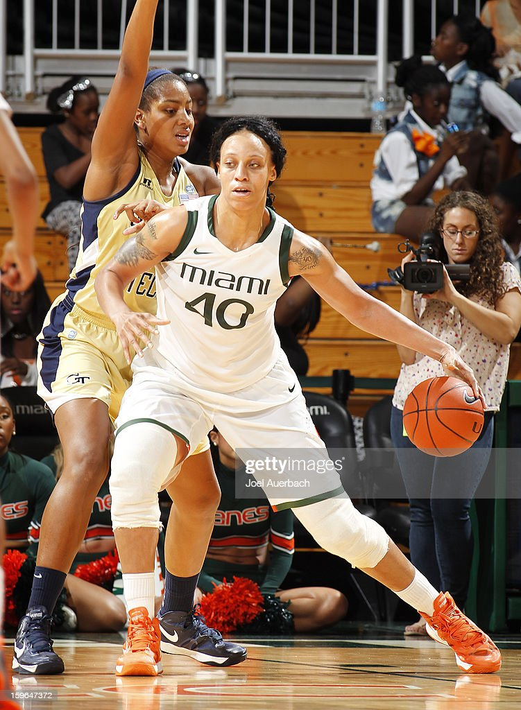 Shawnice Wilson #40 of the Miami Hurricanes dribbles the ball before taking her shot against the Georgia Tech Yellow Jackets on January 17, 2013 at the BankUnited Center in Coral Gables, Florida. Miami defeated Georgia Tech 71-65.
