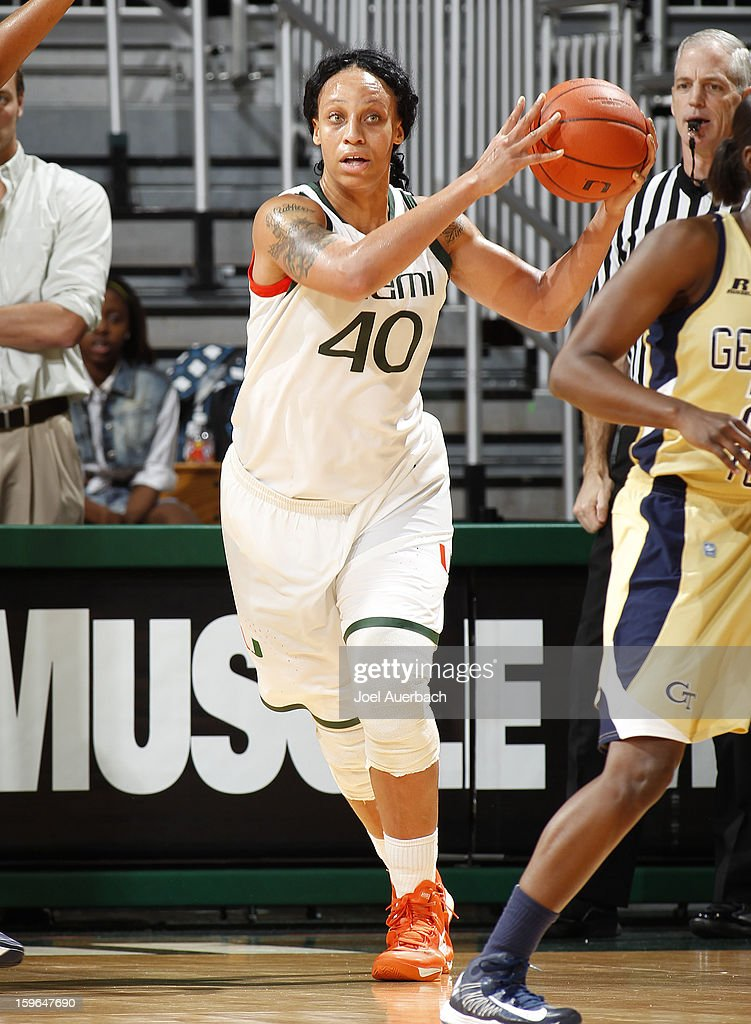 Shawnice Wilson #40 of the Miami Hurricanes passes the ball against the Georgia Tech Yellow Jackets on January 17, 2013 at the BankUnited Center in Coral Gables, Florida. Miami defeated Georgia Tech 71-65.