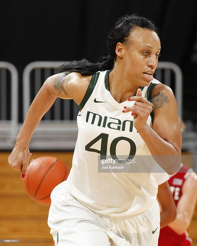 Shawnice Wilson #40 of the Miami Hurricanes runs the floor against the North Carolina State Wolfpack on December 20, 2012 at the BankUnited Center in Coral Gables, Florida. The Hurricanes defeated the Wolfpack 79-53.