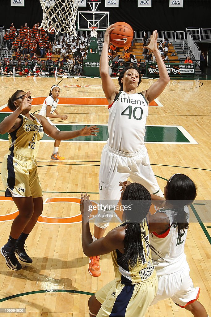 Shawnice Wilson #40 of the Miami Hurricanes secures a defensive rebound against the Georgia Tech Yellow Jackets on January 17, 2013 at the BankUnited Center in Coral Gables, Florida. Miami defeated Georgia Tech 71-65.