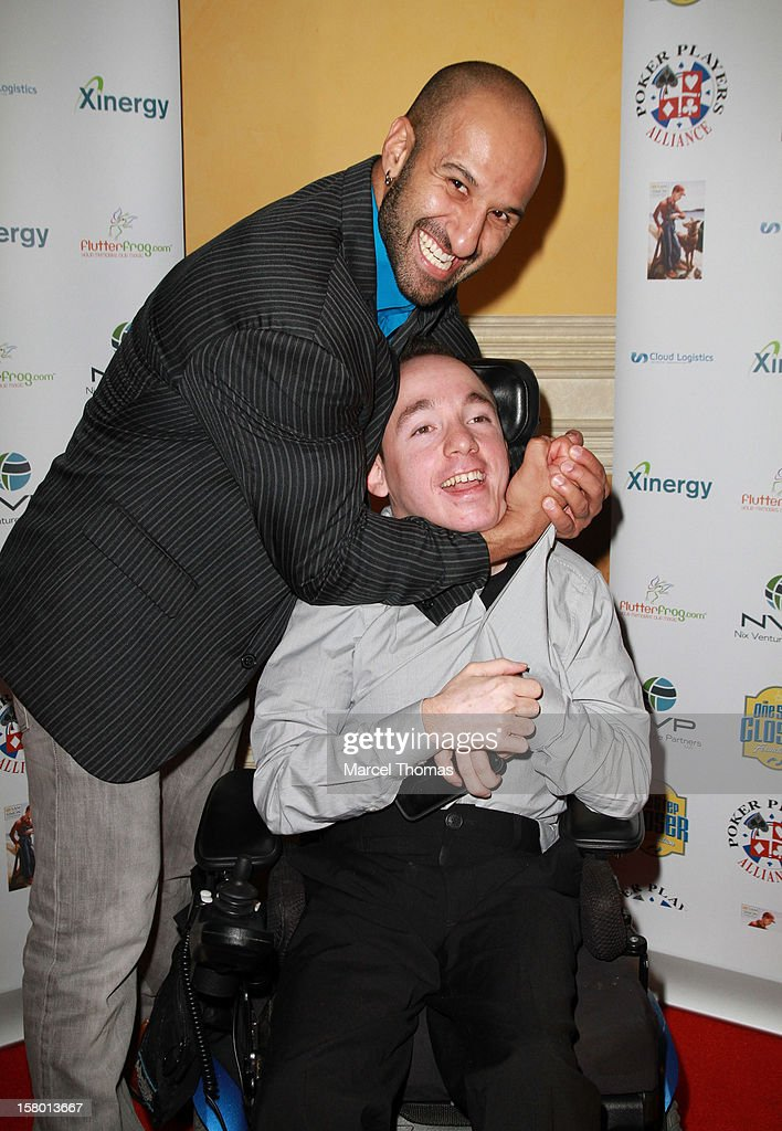 Shawnn Daivari and 'All in for CP ' founder Jacob Zalewski attend the 5th Annual 'All in for CP' Celebrity Poker tournament at the Venetian Hotel and Casino Resort on December 8, 2012 in Las Vegas, Nevada.