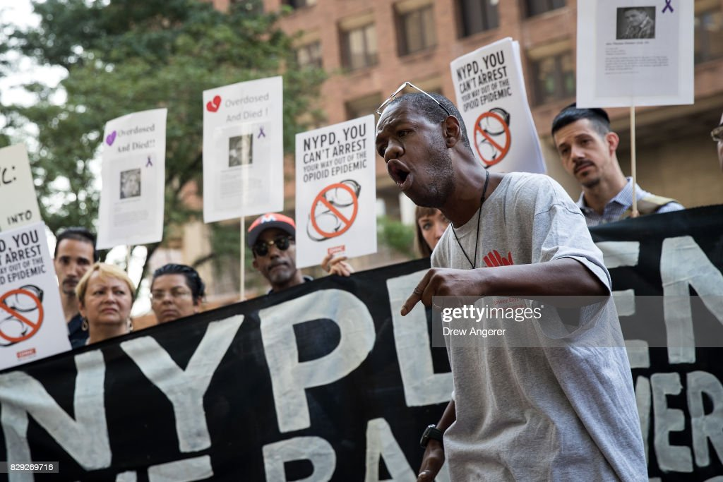 Shawntay Owens, former drug addict and now an outreach worker, speaks during a protest denouncing the city's 'inadequate and wrongheaded response' to the overdose crisis, outside of the New York City Police Department (NYPD) headquarters, August 10, 2017 in New York City. The group is calling for a more public health focused approach and wants the 70 million dollars allocated to the city and NYPD's 'Healing NYC' program to be redirected to the Department Of Health and Mental Hygiene.