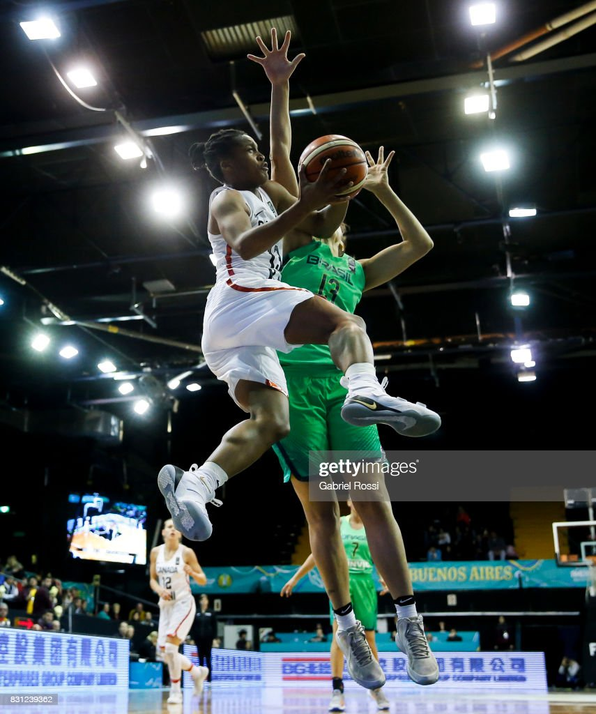 Shay Colley of Canada goes to the hoop during a match between Canada and Brazil as part of the FIBA Women's AmeriCup Semi Final at Obras Sanitarias Stadium on August 12, 2017 in Buenos Aires, Argentina.