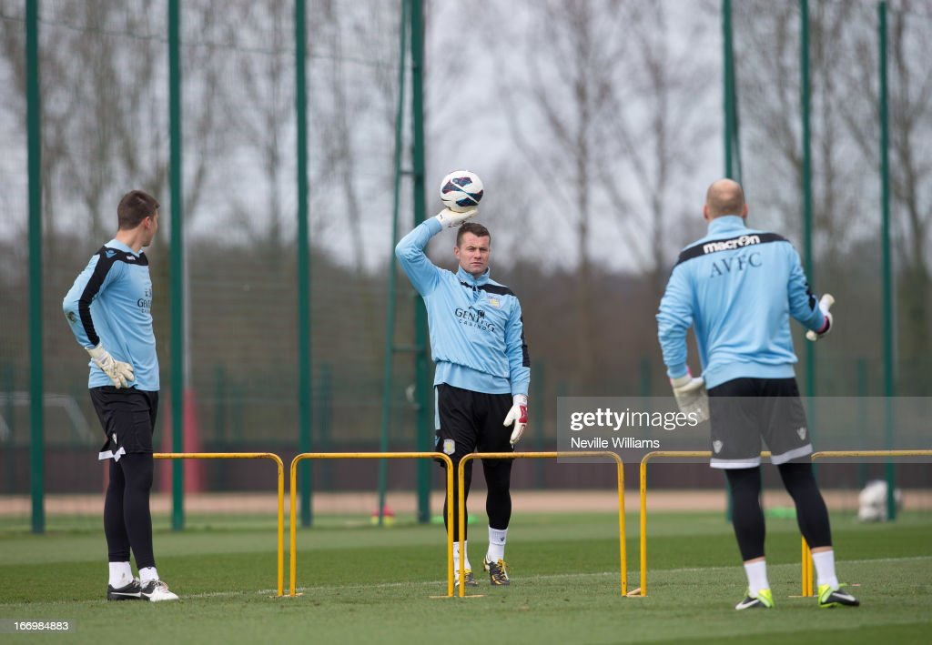 <a gi-track='captionPersonalityLinkClicked' href=/galleries/search?phrase=Shay+Given&family=editorial&specificpeople=171084 ng-click='$event.stopPropagation()'>Shay Given</a> (C) of Aston Villa in action during a Aston Villa training session at the club's training ground, Bodymoor Heath on April 19, 2013 in Birmingham, England.