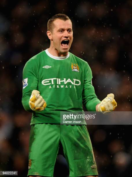 Shay Given of Manchester City celebrates at the end of the Barclays Premier League match between Manchester City and Chelsea at the City of...