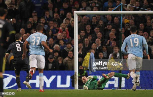 Shay Given of Manchester City saves the penalty kick of Frank Lampard of Chelsea during the Barclays Premier League match between Manchester City and...